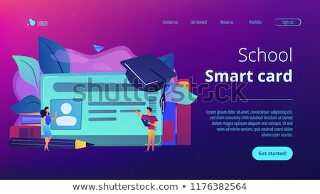 Smartcards for schoolsconcept landing page. Stock photo © RAStudio