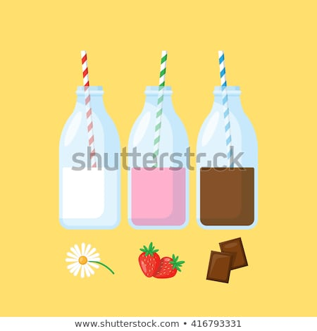 Chocolate milkshake with a retro straw in a glass bottle Stock photo © sarahdoow