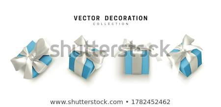 Set White Gift box with blue bow and ribbon top view. Element for decoration gifts, greetings, holid Stock photo © olehsvetiukha