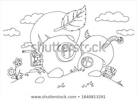 Foto stock: Lagarta · cogumelo · casa · ilustração · folha · fundo