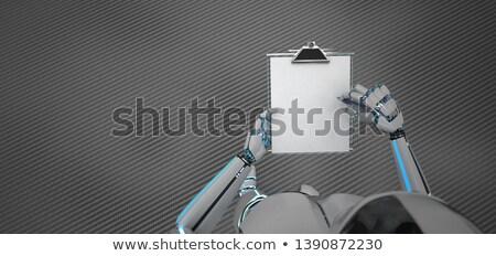 Stockfoto: Schrijven · humanoid · robot · papier · pen