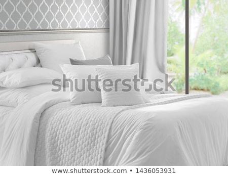 Comfortabel witte bed decoratie hotel Stockfoto © dashapetrenko
