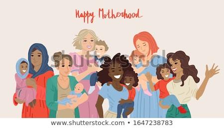 Mães dia cartão diverso mamãe criança Foto stock © cienpies