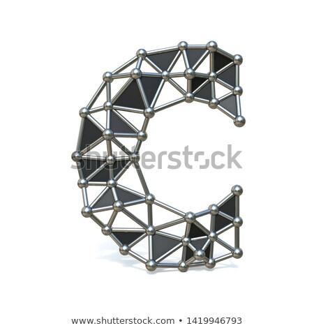 Wire low poly black metal Font Letter C 3D Stock photo © djmilic