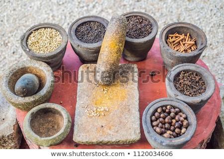 Set of Asian spices: ginger, cinnamon, lime, clove, pepper, nutmeg Stock photo © galitskaya