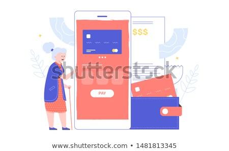 Smartphone pagamento giovani imprenditrice vicino Foto d'archivio © pressmaster