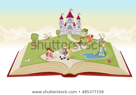 cute · weinig · kid · lezing · halloween · verhaal - stockfoto © lenm