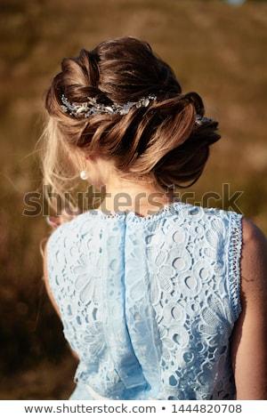 Portré fiatal fürtös szőke nő lány ruha Stock fotó © deandrobot