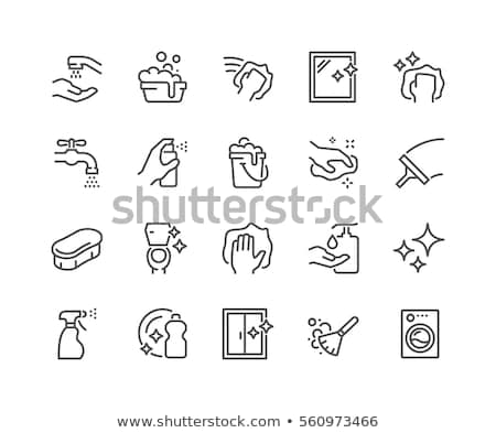 laundry service vector thin line icons set stock photo © pikepicture