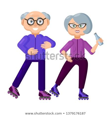 Grootouders ontspanning vector mensen portret Stockfoto © robuart