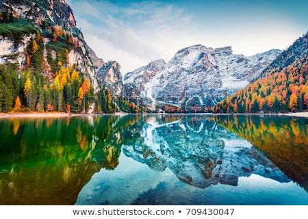 Church and colorful autumn forest with mountains Stock photo © frimufilms