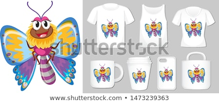 Graphic of colorful butterfly on different types of product temp Stock photo © bluering
