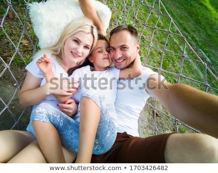 Kind jongen zitten hangmat tuin natuur Stockfoto © Lopolo