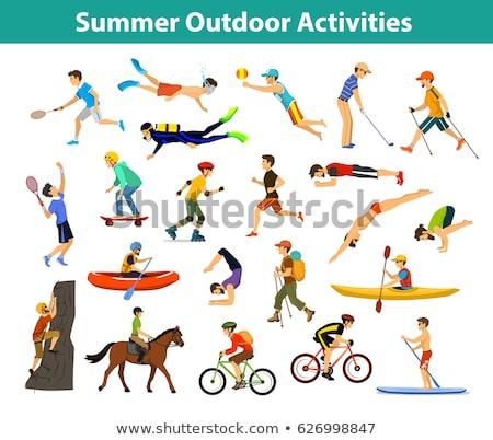 Strand badminton snorkelen activiteiten paar Stockfoto © robuart