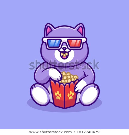 Vector character of cute cat in a popcorn bucket Stock photo © amaomam