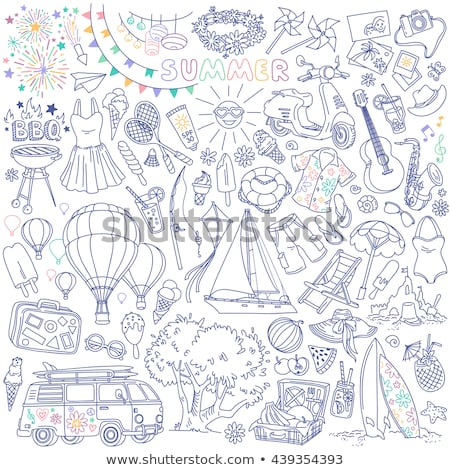 doodle set of travel theme items stock photo © balabolka
