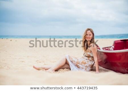 Jeune fille plage bateau eau Photo stock © galitskaya