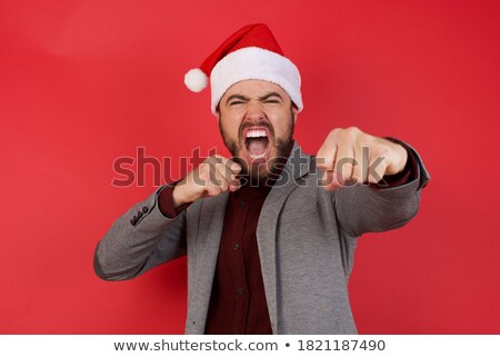 Stock fotó: Furious Businessman In Crisis With Fist In The Air