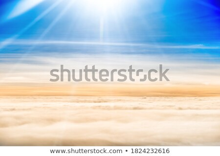 Beautiful airview with blue sky, white clouds and sunrays Stock photo © vapi