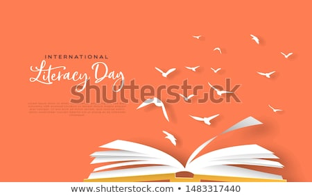 Literacy day papercut card open book birds flying Stock photo © cienpies