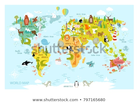 South North America continent animal map concept Stock photo © cienpies