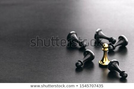 Estratégico negocios competidores 3d negro dorado Foto stock © olivier_le_moal