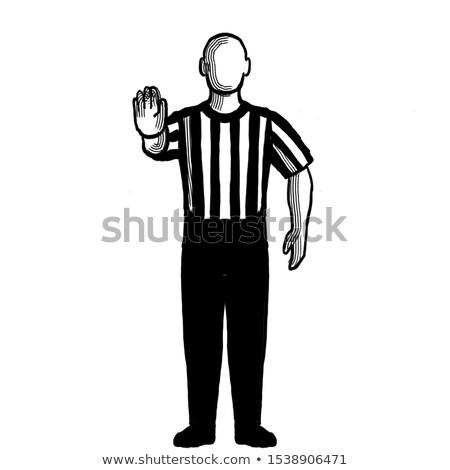 Koszykówki arbiter sygnał strony retro czarno białe Zdjęcia stock © patrimonio