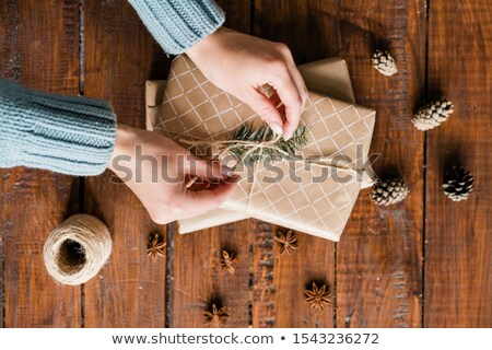 Girl hands binding knot on top of giftbox among pinecones and star anise Stock photo © pressmaster