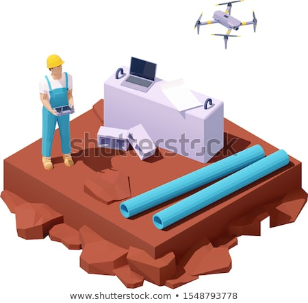 vector isometric drone survey at construction site stock photo © tele52