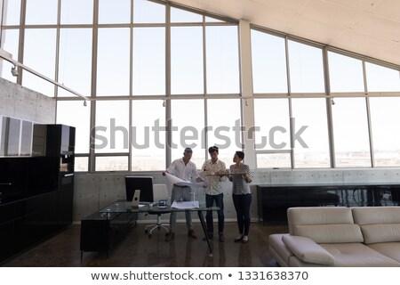 Elöl kilátás félvér üzletemberek megbeszél ház Stock fotó © wavebreak_media