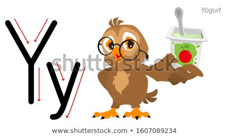 Levél angol ábécé bagoly joghurt izolált Stock fotó © orensila