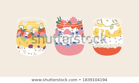 Granola joghurt aszalt málna egészséges reggeli Stock fotó © furmanphoto