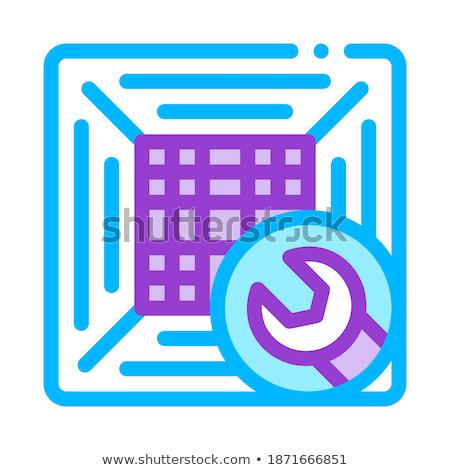 Kantoor klimaat conditioner vector dun lijn Stockfoto © pikepicture