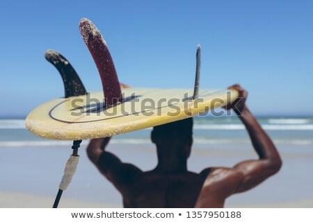 Hátsó nézet jóképű fitt afroamerikai férfi szörfös Stock fotó © wavebreak_media