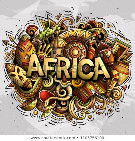 Rajz aranyos firkák Afrika szó vicces Stock fotó © balabolka