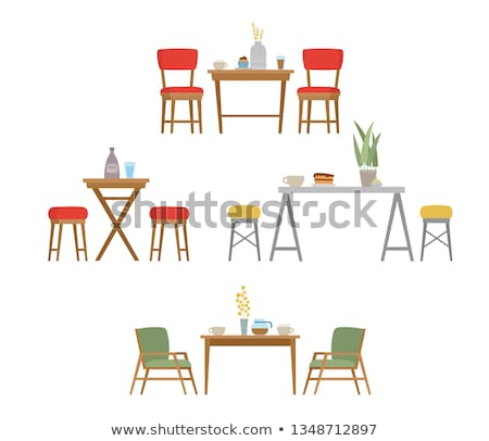 Restaurant Furniture Wooden Table and Chair Vector Stock photo © robuart
