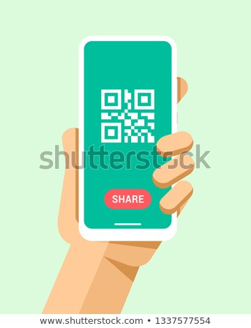 Hand holds the smartphone with qr code and share button. Flat vector modern phone mock-up illustrati Stock photo © karetniy