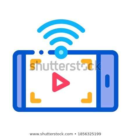 Izlerken video wifi ikon vektör Stok fotoğraf © pikepicture
