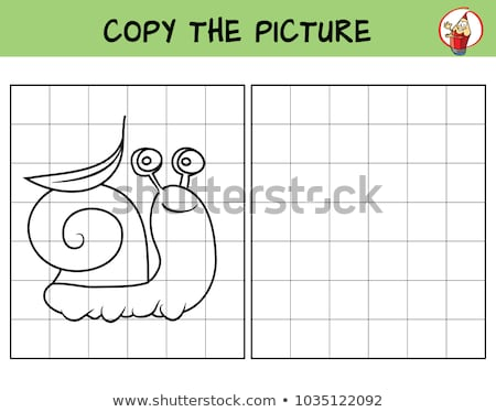 Funny little snail. Copy the picture. Coloring book. Educational game Stock photo © natali_brill