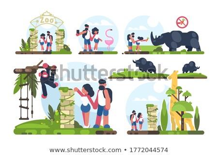 Couple of guy and girl walking in zoo Stock photo © jossdiim