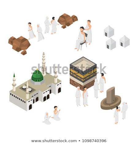 Haddzs iszlám vallás izometrikus ikon szett vektor Stock fotó © pikepicture