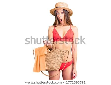jonge · brunette · vrouw · bed · meisje · sexy - stockfoto © stryjek
