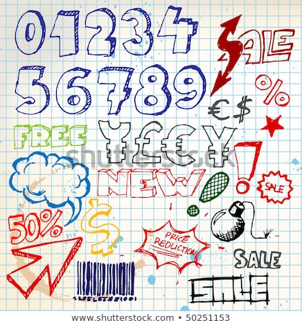 Set of colorful doodle eshop / advert elements stock photo © orson
