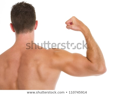 Stock photo: man shows biceps from back