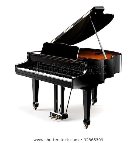 Piano de cola color claves negro aislado blanco Foto stock © anyunoff