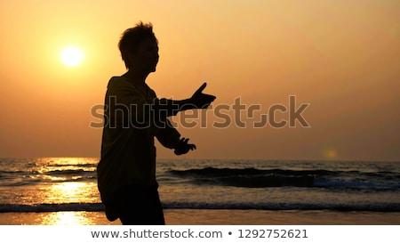 Naplemente tai chi tengerpart gyönyörű lány lány szexi Stock fotó © johnnychaos