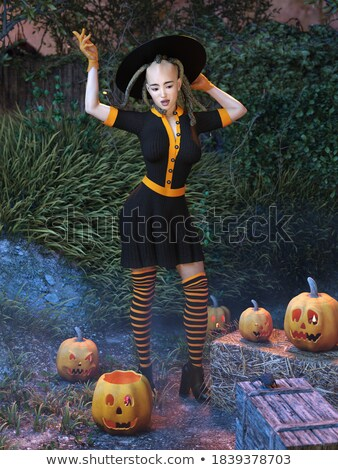 Pinup Girl Trick or Treat Stock photo © lenm