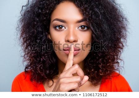 красивой тайну пальца губ Сток-фото © darrinhenry