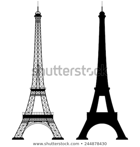 Negro silueta Eiffel Tower blanco Europa vector Foto stock © mayboro
