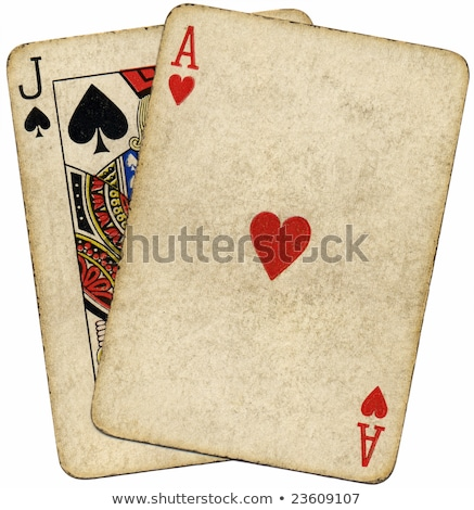 Close up of vintage dirty blackjack cards. Stock photo © latent